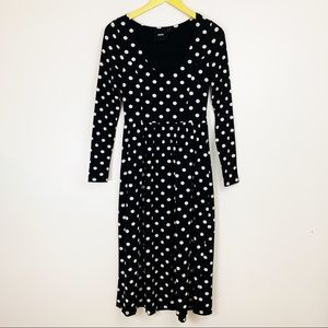 ASOS Polka Dot Midi Stretch Long Sleeve Dress